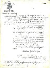 """Document on Alfonso de Borbon y Austria, el nomenava alféres d'infanteria amb reconeixement de la data del 19 d'octubre del 1873, data de la coneguda """"acció de Prades"""""""