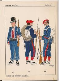 """Dibujo de la """"Infantería Real"""" carlista. Los Mozos de Escuadra se incorporan como fuerzas carlistas"""