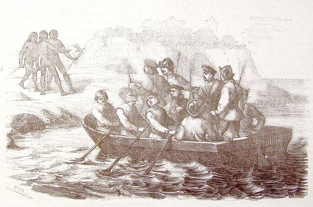 Enviando a tierra un bote por agua a Higuey provincia oriental de Española