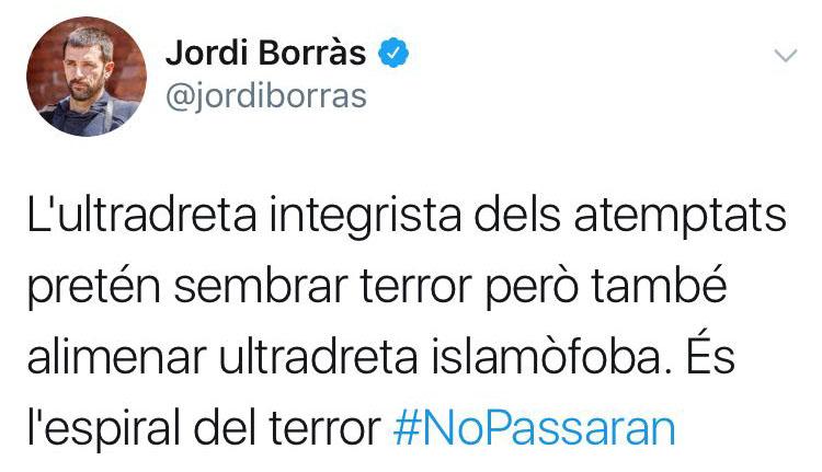 """¡Increíble!: Reaparece Jordi Borràs para afirmar que el atentado lo ha cometido la """"ultraderecha integrista"""""""