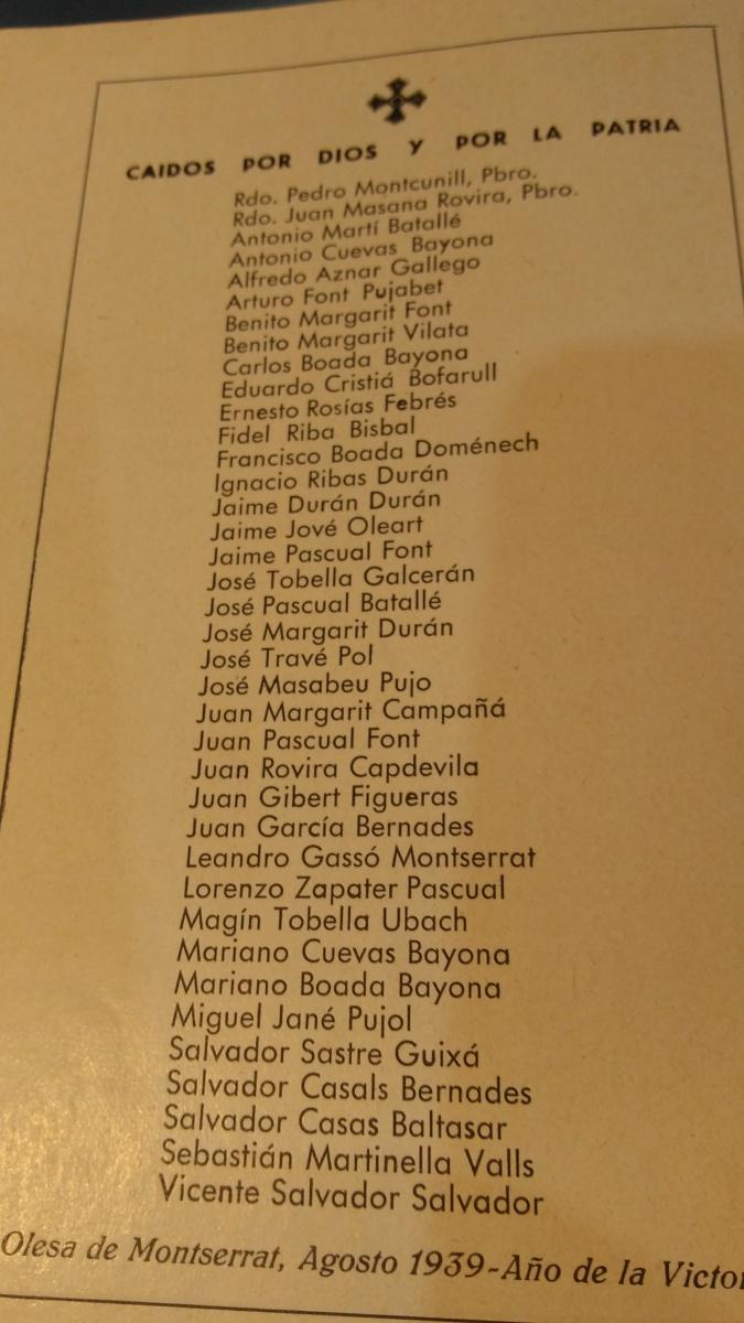 COMPANYS ASSASSI: llistat dels 38 assassinats a Olesa de Montserrat