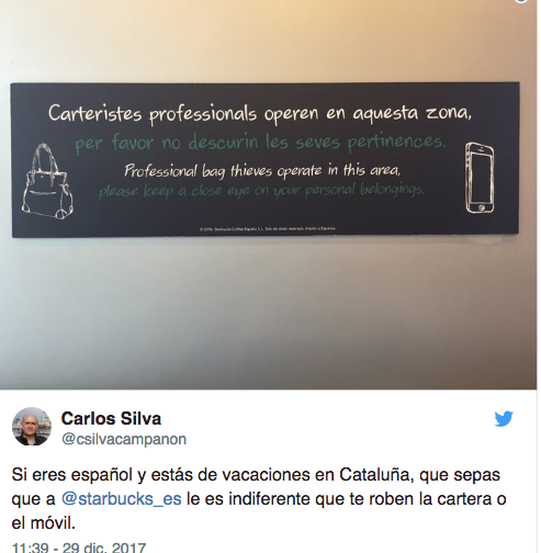 """2975ea53b6d Starbucks sólo rotula en catalán y no en castellano porque """"Es el ..."""