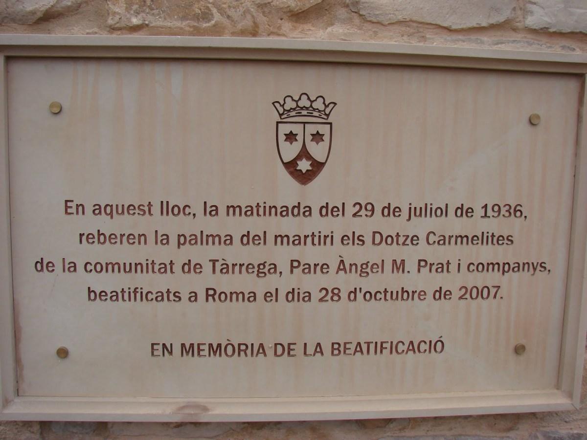 MEMORIA HISTÓRICA: Los 12 carmelitas calzados de Tárrega martirizados en la Cataluña de Companys