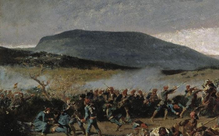 DETALLE-DE-LA-BATALLA-DE-WAD-RAS.-FUERZAS-CATALANAS-PORTANDO-LA-BANDERA-ESPAÑOLA.-Autor-Fortuny-Marsal-Mariano.Cronologia-del-cuadro-1862-1863